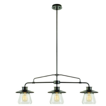 Vintage 3-Light Hanging Pendant Oil-Rubbed Bronze Clear Glass Shades Kitchen Use