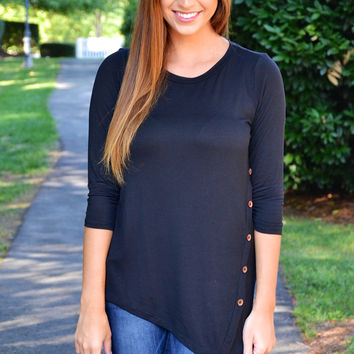 Cute As a Button top, black