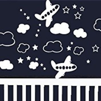 Wall Decal Vinyl Sticker Decals Art Decor Design Set Planes Clouds Stars Military Air Aviation Airplane Sky Boys Bedroom Kids Nursery(r701)