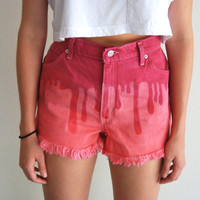 Exclusive Dyed Pink Slime Stencil Vintage Levi's High Waisted Denim Shorts Size 12