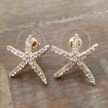 Large Gold Rhinestone Starfish Earrings  Stud by LiveCoastal