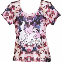 Ladies Floral Marie Aristocats Disney T-Shirt From Eleven Paris : TruffleShuffle.com