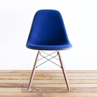 Classic Eames DSW - Navy Blue Hopsack on Walnut Dowel Base Side Chair