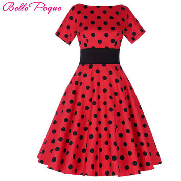Belle Poque Vintage Polka Dot Dress Short Sleeve O-Neck Plus Size Wear Female robe Vintage 50s Retro Swing Woman Party Dresses
