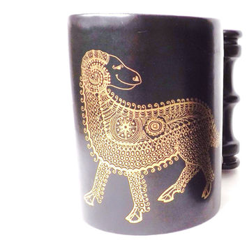 Vintage Aries Coffee Mug Portmeirion Zodiac, The Ram March April Birthday Gift, Black Retro Mug, British Modern Tankard John Cuffley Design