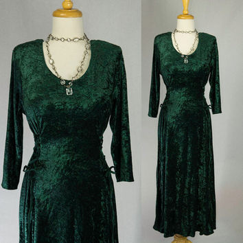 Vintage Green Crushed Velvet Midi Dress Corset laced sides 90s Grunge Goth L XL