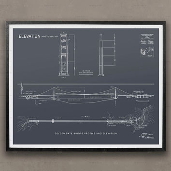 Golden Gate Bridge Blueprints, Elevations, Plans, San Francisco, California, Golden Gate Bridge, Bridge, Construction, Engineering, Poster