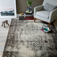 Distressed Arabesque Wool Rug - Steel