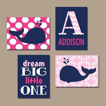 Girl WHALE Wall Art, Whale Canvas or Prints, Baby Girl Nautical Nursery Decor, Girl Whale Bedroom, Navy Pink Decor, Set of 4 Crib Decor