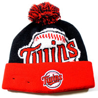 New Era Kid's Minnesota Twins Jr Woven Biggie Black/Red Cuffed Knit Hat