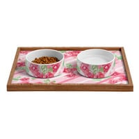 Lisa Argyropoulos Summer Blossoms Stripes Pink Pet Bowl and Tray