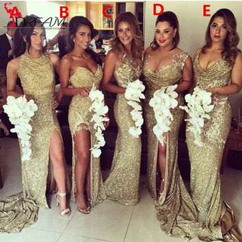 Sparkly Gold Sequin Long Bridesmaid Dresses 2016 Elegant Women Formal Wedding Party Dresses with High Slit Custom Made Liyatt