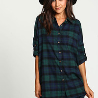 Green Boyfriend Flannel Pocket Shirt