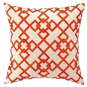 Chain Link Orange Geometric Pillow