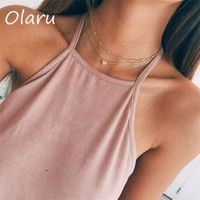 Olaru Fashion Multi-layer Heart Choker Necklace For Woman Female Luxury Simple Gold Color Statement Boho Necklaces Accessories