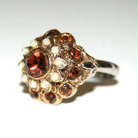 Vintage Brown Topaz Ring Seed Pearls, Romantic Victorian Revival, Costume Jewelry