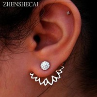 Crystal Flower Stud Earrings For Women fashion Jewelry gold sliver Simple design Rhinestones Earring jewelry e0400