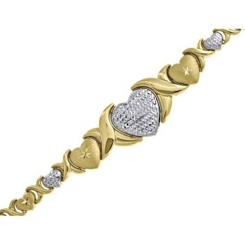 Ladies Hearts & Kisses Links Bracelet in Solid 10k Yellow & White Gold 7 Inch