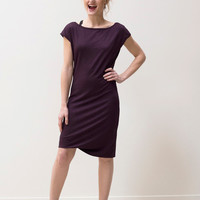 Cap Sleeve Dress Maroon Melange