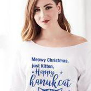 Meowy Christmas, Just Kitten Happy Hanukcat Chanukah Funny ugly Hanukah shirt