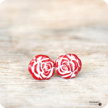Post earrings  Red Roses by Dariami on Etsy