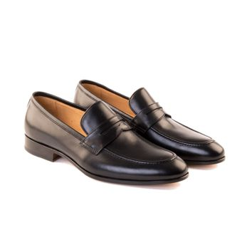 Carlo -  Penny Loafer Shoe In Black Calf Leather