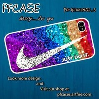 Nike just do it with glitter Case For Iphone 44s 5 Samsung S234 by pfcase on Zibbet