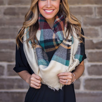 Plaid Raw Hem Blanket Scarf