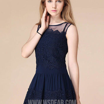 White And Blue Lace Sleeveless Sheath A-Line Pleated Mini Dress