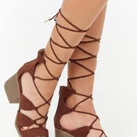 Qupid Lace-Up Sandals