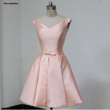 Simple satin A-line sleeveless V neck pink short 8 grade graduation dresses cheap under $60USD