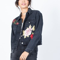Blooming Patched Denim Jacket