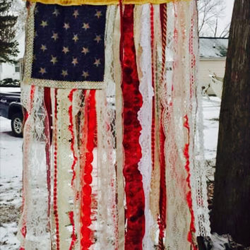 American Inspired Lace and Ribbon Flag