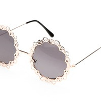 Round Retro Lace Sunglasses - Gold