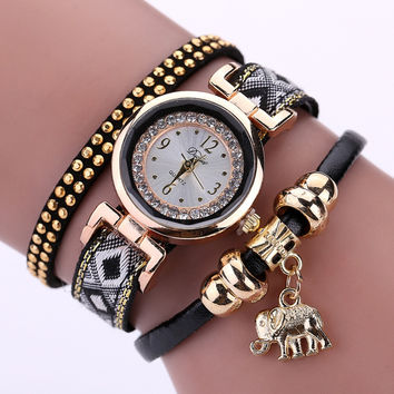 Luxury Brand New Women's Watch Fashion Gold Elephant Pendant Bracelet Watch Round Casual Ladies Girls Wristwatches