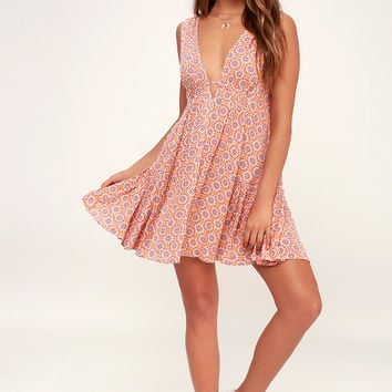 Sun Dancer Orange Tile Print Swing Dress