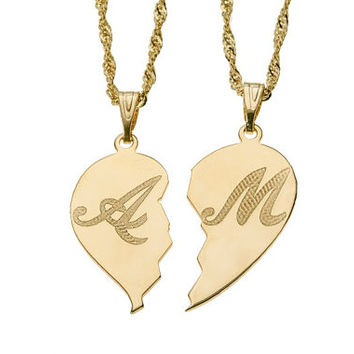 Shop personalized necklace for him on wanelo 2 necklace of semi heart 18k gold plated name necklace custom aloadofball Images