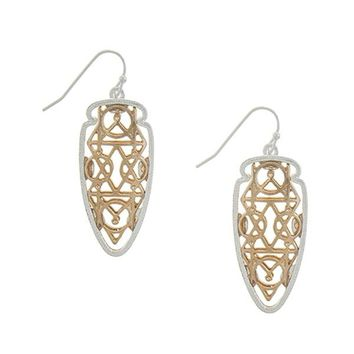 Egyptian geometric pattern laser cut drop earrings