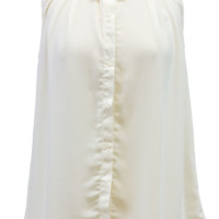 Ivory Sleeveless Chiffon Button Down Blouse
