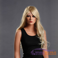 "24"" Long Wavy with Bangs Synthetic Wigs for Women Basic Cap Blonde"