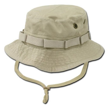 Khaki Tan Military Inspired Combat Style Drawstring Boonie Hat -- Bucket Hat Size XL