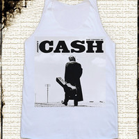 Size M -- JOHNNY CASH Shirts Country Rock Shirts Rock And Roll Shirts Women Shirts Vest Singlet Tank Top Women Tunics Sleeveless Shirts