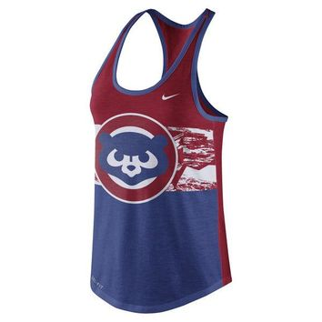 Women's Nike Royal Chicago Cubs Cooperstown Collection Tri-Blend Racerback Performance Tank Top