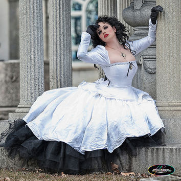 "SAMPLE Sale Alternative Wedding Gown Gothic Steampunk ""Gothic Romance""- READY to ship Medium Waist 30-34"