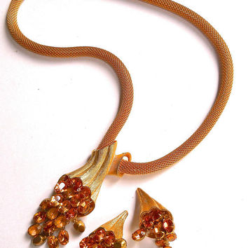 Gold Tone Mesh Necklace-Earrings Set, Juliana Style, Topaz Dangle Rhinestones, Vintage
