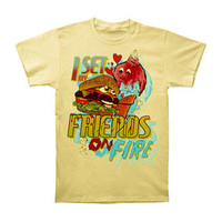I Set My Friends On Fire Men's  Burger Cream Slim Fit T-shirt Yellow
