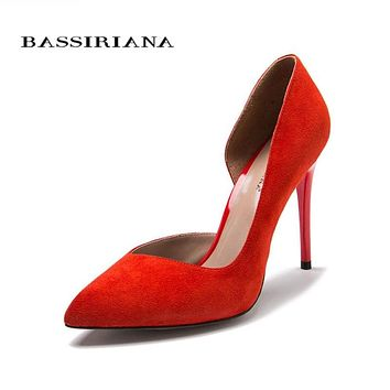 High heels pumps Natural suede leather New spring summer 2017 Red Black 35-40 Fashion Basic shoes woman Free shipping BASSIRIANA Macchar Cosplay Catalogue