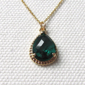 Emerald Green Drop Necklace 14k Gold Fill or Gold Plate Chain Minimalist Jewelry Bridesmaid Necklace Rope Detail