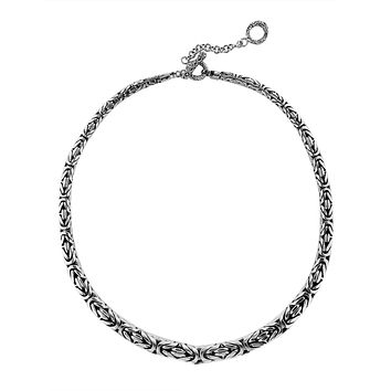 """AN-6275-S-18"""" Sterling Silver Bali Hand Crafted Chain 8MM Graduated Necklace"""