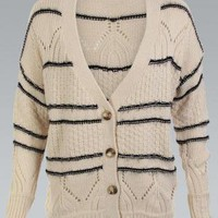 Cream Knit Oversized Stripe Cardigan with Button Up Front